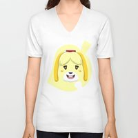 animal crossing V-neck T-shirts featuring Animal Crossing Isabelle by ZiggyPasta