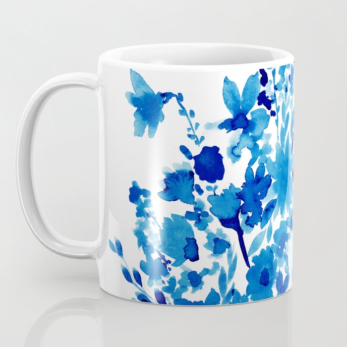 Blue Floral Coffee Mug