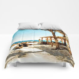 Watercolor Painting of Mykonos Beach Comforters
