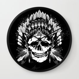 Indian Chief Skull Wall Clock