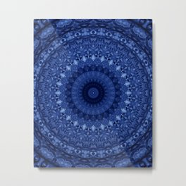 Mandala in deep blue tones Metal Print