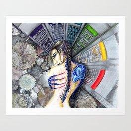 Femme moderne- modern woman future cyborg Art Print