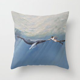 The Creation of Adam the Whale Throw Pillow
