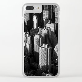 Tall buildings and skyscrapers with shadows of each other in the evening Clear iPhone Case