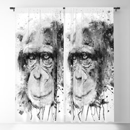 Watercolor Chimpanzee Black and White Blackout Curtain