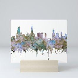 Chicago Skyline Pastel Khaki Purple Teal Watercolor Chicago Art USA Decor Art Travel Mini Art Print