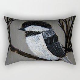 Chickadee on a Tree Branch Rectangular Pillow