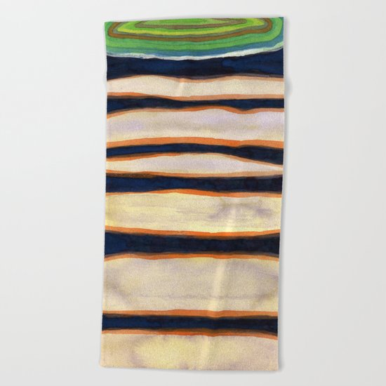 Green Cloud over Floating Shapes Beach Towel