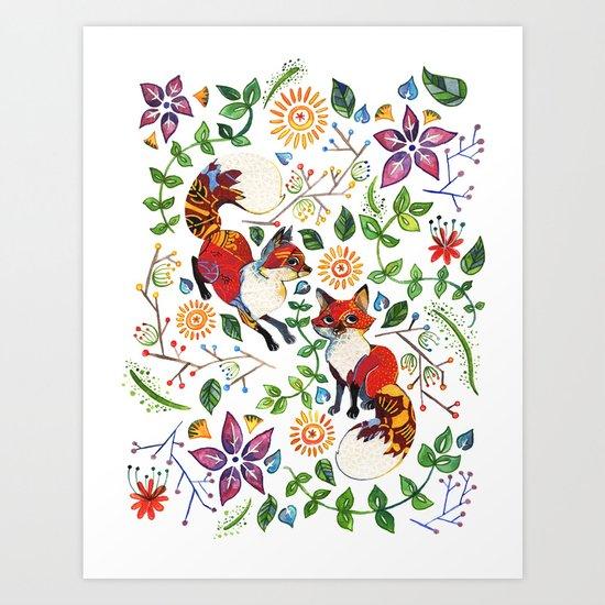 Fox Pattern Art Print