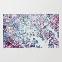 baltimore Area & Throw Rugs featuring Baltimore by MapMapMaps.Watercolors