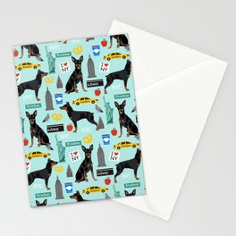 Miniature Doberman Pinscher min pin new york city tourist landmarks cute dog breed gifts Stationery Cards