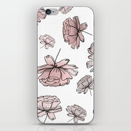 Hand Drawn Peonies Dusty Rose iPhone Skin