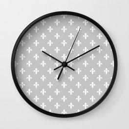 Fleur-de-Lis (White & Gray Pattern) Wall Clock