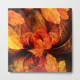 Ablaze with Beautiful Fractal Fall Colors Metal Print