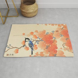 Colorful bird sitting on a tree branch - Japanese vintage woodblock print art  Rug