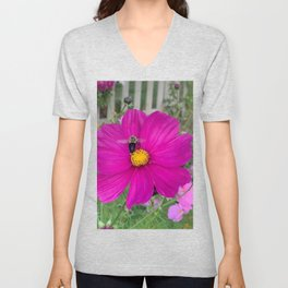 Bumble Bee in Flight against a Dark Pink Cosmos Flower Unisex V-Neck
