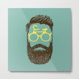 Hipster Biker Metal Print