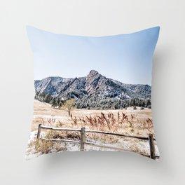 Flatirons Boulder // Colorado Scenery Mountain Landscape Snowfall Fence Line Throw Pillow