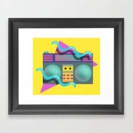 Retro Eighties Boom Box Graphic Framed Art Print