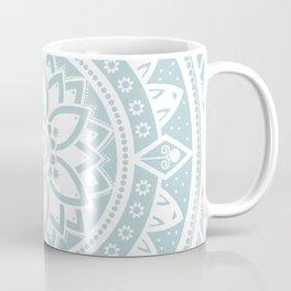 Duck Egg Blue & White Patterned Flower Mandala Coffee Mug