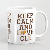 nfl Mugs featuring LOVE CLE BROWNS II by C. Wie Design