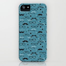 Hipster Elements Pattern on blue iPhone Case