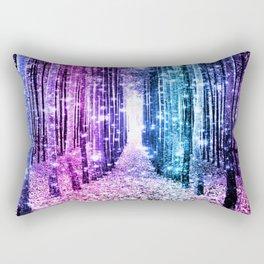 Magical Forest : Aqua Periwinkle Purple Pink Ombre Sparkle Rectangular Pillow