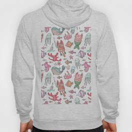 Hand painted pink teal nautical coral fish pattern Hoody