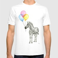Zebra with Balloons Watercolor Baby Animals White MEDIUM Mens Fitted Tee