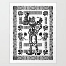 Metroid - Samus Aran Line Art Vector Character Poster Art Print