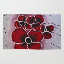 Red Flowersa abstract painting Rug