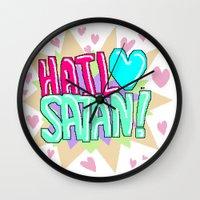 satan Wall Clocks featuring HAIL ♥ SATAN! by Adrian Trenteseaux