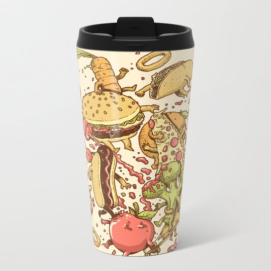 Food Fight Metal Travel Mug