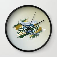 football Wall Clocks featuring Football  by ArtAngelo