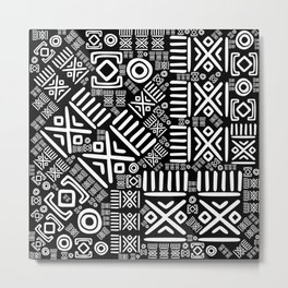 Ethnic African Pattern- Black and White #6 Metal Print