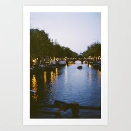 Amsterdam Canal with Boats and City Lights Art Print