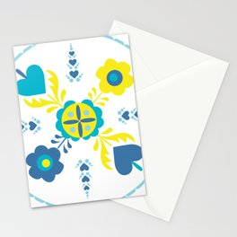 Folk Flowers in Yellow and Turquoise Stationery Cards