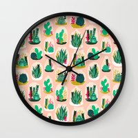 garden Wall Clocks featuring Terrariums - Cute little planters for succulents in repeat pattern by Andrea Lauren by Andrea Lauren Design