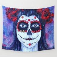 dia de los muertos Wall Tapestries featuring Dia de los Muertos by Melissa A. Torres Art