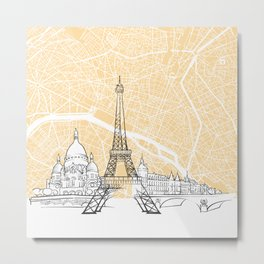 Paris France Skyline Map Metal Print