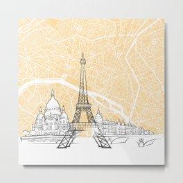 Paris France Skyline Map Metal Print