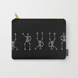 White skeleton on black Carry-All Pouch