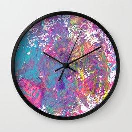 Bold Rainbow Paint Splatter with Lisa Frank Colors Wall Clock