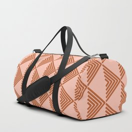 Triangular Lines in Terracotta and Blush Duffle Bag