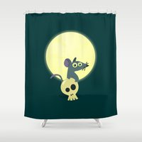 rat Shower Curtains featuring Moon Rat by AnishaCreations