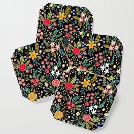 Amazing floral pattern with bright colorful flowers, plants, branches and berries on a black backgro Coaster