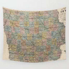 Vintage Map of Iowa (1875) Wall Tapestry