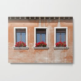 Three Windows in Venice Metal Print