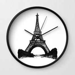 Eiffel Tower in Black Wall Clock