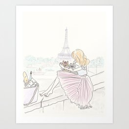 Eiffel Tower Pleated Cuddles with Yorkie Dog and Cat Art Print